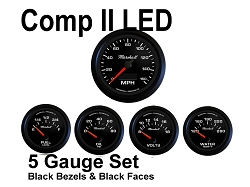 COMP II LED 5 Gauge Set, Black Face - Black Anodized Aluminum Bezel Rings