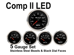 COMP II LED 5 Gauge Set, Black Face - Polished Stainless Steel Bezel Rings