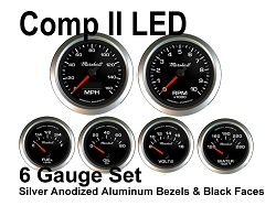 COMP II LED 6 Gauge Set, Black Face - Silver Anodized Aluminum Bezel Rings