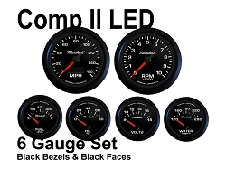 COMP II LED 6 Gauge Set, Black Face - Black Anodized Aluminum Bezel Rings