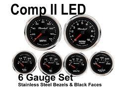 COMP II LED 6 Gauge Set, Black Face - Polished Stainless Steel Bezel Rings