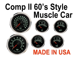 COMP II 60's Muscle Car Style 6 Gauge Set