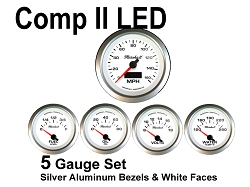 COMP II LED 5 Gauge Set, White Face - Silver Anodized Aluminum Bezel Rings