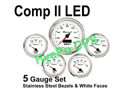COMP II LED 5 Gauge Set, White Face - Polished Stainless Steel Bezel Rings