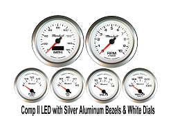 COMP II LED 6 Gauge Set, White Face - Silver Anodized Aluminum Bezel Rings