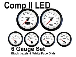 COMP II LED 6 Gauge Set, White Face - Black Anodized Aluminum Bezel Rings