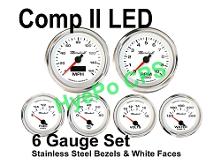 COMP II LED 6 Gauge Set, White Face - Polished Stainless Steel Bezel Rings