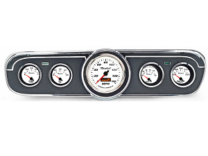 1965 GT Mustang Comp II Bright White 5-Gauge Instrument Set