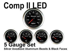 COMP II LED 5 Gauge Set, Black Face - Silver Anodized Aluminum Bezel Rings