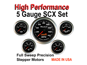 High Performance SCX Black Dial 5-Gauge Set
